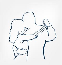 dance pair silhouette sketch line design vector image