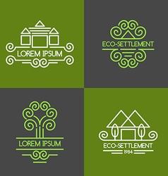 Eco settlement logo set vector