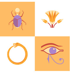 Egypt sacred symbols icon set in flat style vector