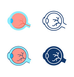 Eyeball icon set in flat and line style vector