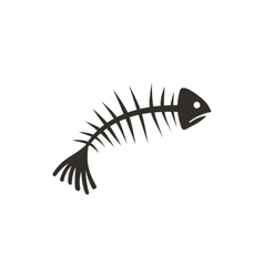 Fish bones icon flat style vector image