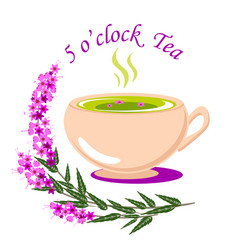 Five o clock tea with a cup of vector