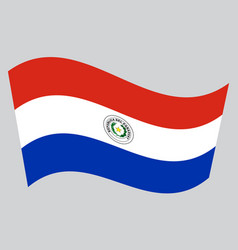 Flag of paraguay waving on gray background vector