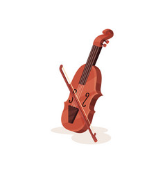flat icon of wooden violin with bow vector image