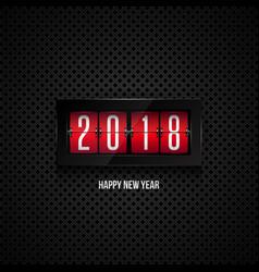 Flip board clock 2018 happy new year concept vector