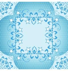 Floral frame in blue vector