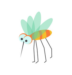 Funny mosquito with huge eyes and sharp proboscis vector