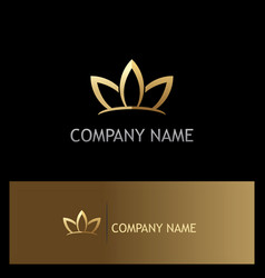 gold lotus flower beauty logo vector image