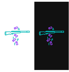 Green and purple line gun shooting icon isolated vector