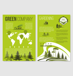 Green company posters templates set vector