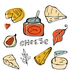 Hand drawn cheese collection vector