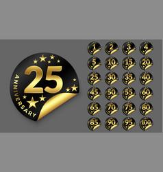 Happy anniversary logotype golden badges big vector