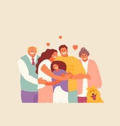 Happy hugging family vector