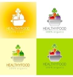 Healthy organic food logo icon set with fresh vector image