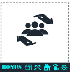 helping hands icon flat vector image