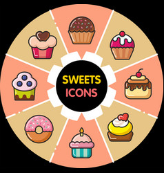 Infographic food icons cupcakes vector