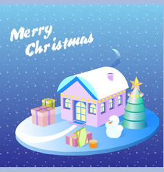 Isometric christmas decorated houses with tree and vector