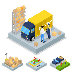 isometric delivery concept with truck courier vector image