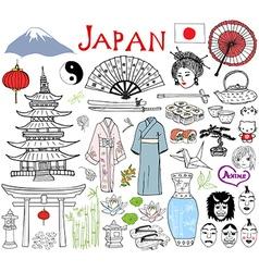 japan doodles elements hand drawn sketch set vector image
