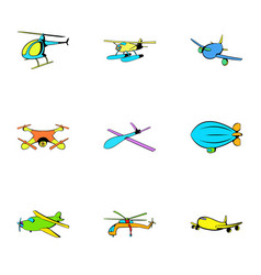jet icons set cartoon style vector image vector image