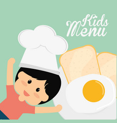 kids menu chef boy fried egg bread vector image