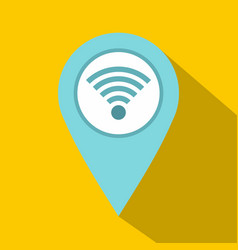 Light blue map pointer with wi fi symbol icon vector
