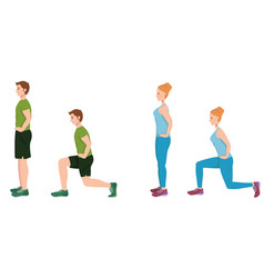 man and woman doing forward lunges vector image