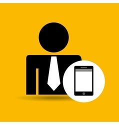 Man silhouette business and smartphone design icon vector