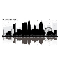 manchester city skyline silhouette with black vector image