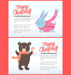 merry christmas and happy new year posters set vector image