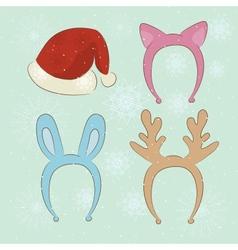 Merry Christmas carnival cartoon set vector image