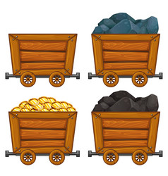 Mining products in wooden carts vector