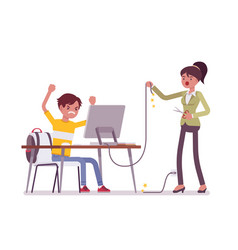 mother cuts computer wire vector image