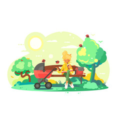 mother with baby carriage in park vector image