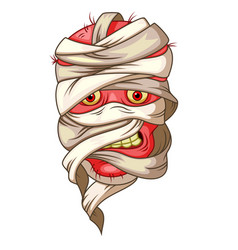 mummy head cartoon vector image