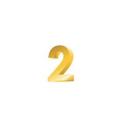 Number 2 3d template design vector
