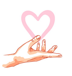 one hand hold heart vector image