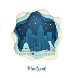 Paper art of montreal origami concept night city vector