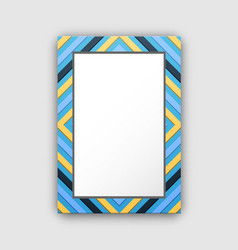 Photo frame with blue border and abstract figures vector