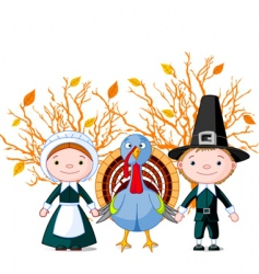 pilgrims and turkey vector image