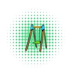 Playground swing icon comics style vector