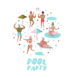 Pool party doodle characters people swimming vector