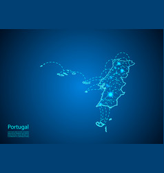 Portugal map with nodes linked by lines concept vector
