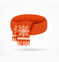 realistic 3d detailed winter knitted scarf vector image