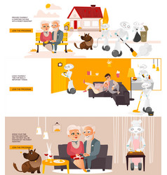 Robots in life infographics posters set vector