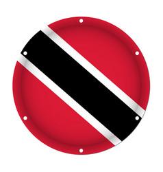 Round metallic flag of trinidad and tobago vector