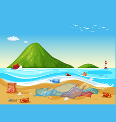 scene with plastic bags on beach vector image