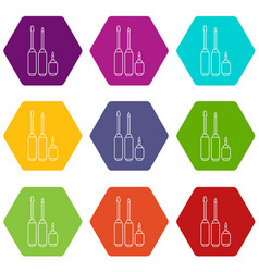 screwdriver icons set 9 vector image