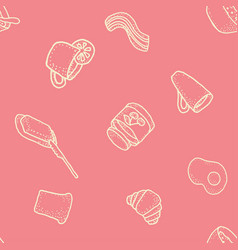 seabless pattern with breakfast on pink vector image