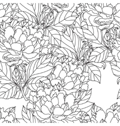 Seamless Peony bouquet Coloring book page vector